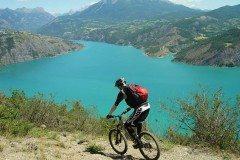 Mountain biking around the Lac de Serre-Ponçon in the Ubaye Valley